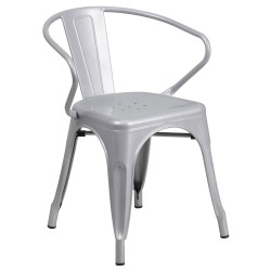 Silver Metal Chair with Arms
