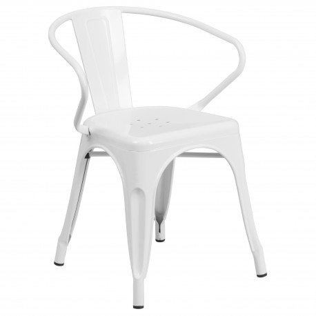 White Metal Chair with Arms