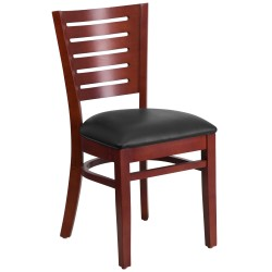 Fervent Collection Slat Back Mahogany Wooden Restaurant Chair - Black Vinyl Seat