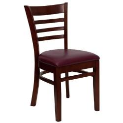 Mahogany Finished Ladder Back Wooden Restaurant Chair - Burgundy Vinyl Seat