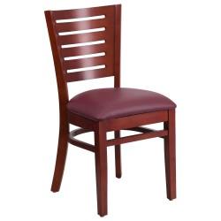 Fervent Collection Slat Back Mahogany Wooden Restaurant Chair - Burgundy Vinyl Seat