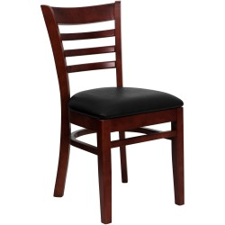 Mahogany Finished Ladder Back Wooden Restaurant Chair - Black Vinyl Seat