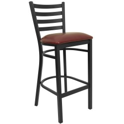 Black Ladder Back Metal Restaurant Bar Stool - Burgundy Vinyl Seat