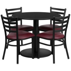 36'' Round Black Laminate Table Set with 4 Ladder Back Metal Chairs - Burgundy Vinyl Seat