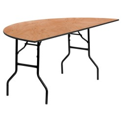 72'' Half-Round Wood Folding Banquet Table
