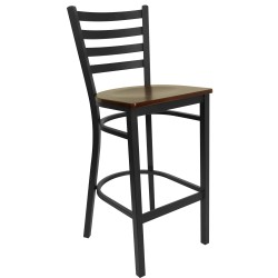 Black Ladder Back Metal Restaurant Bar Stool - Mahogany Wood Seat