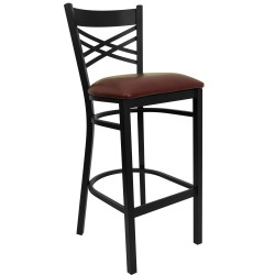 Black ''X'' Back Metal Restaurant Bar Stool - Burgundy Vinyl Seat