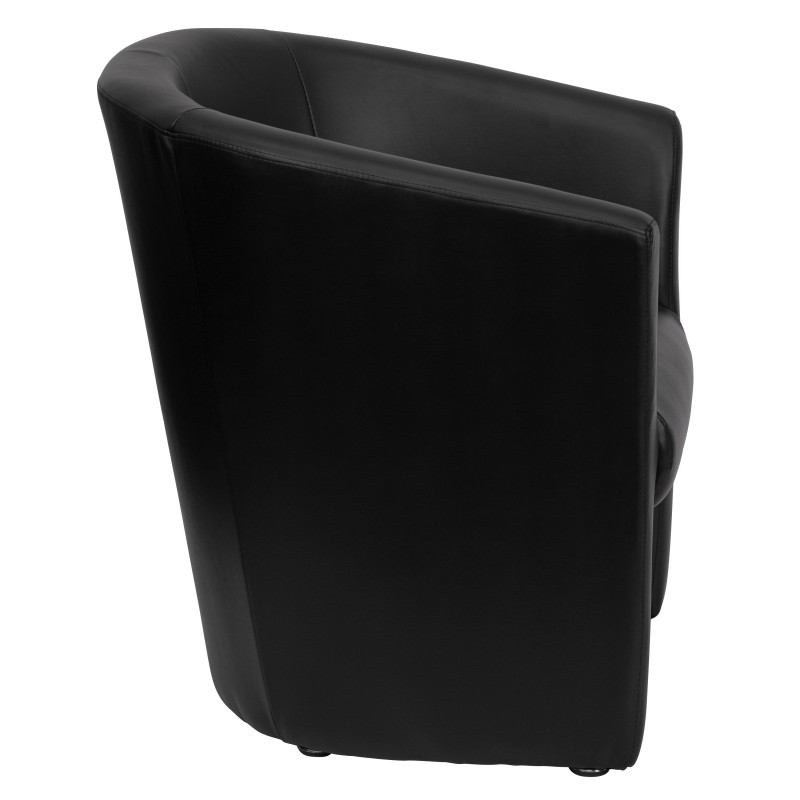 ... Black Leather Barrel Shaped Guest Chair ...