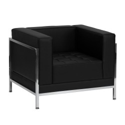 Immaculate Collection Contemporary Black Leather Chair with Encasing Frame