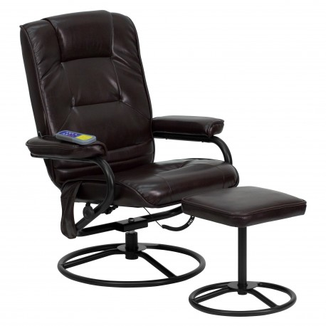 Massaging Brown Leather Recliner and Ottoman with Metal Bases
