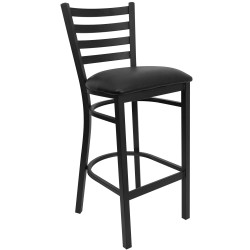 Black Ladder Back Metal Restaurant Bar Stool - Black Vinyl Seat