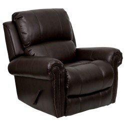 Plush Brown Leather Lever Rocker Recliner with Brass Accent Nails