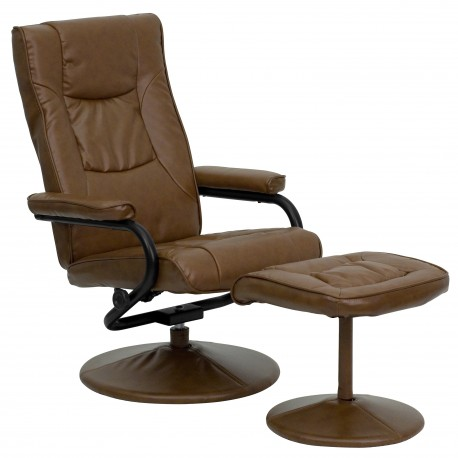 Contemporary Palimino Leather Recliner and Ottoman with Leather Wrapped Base