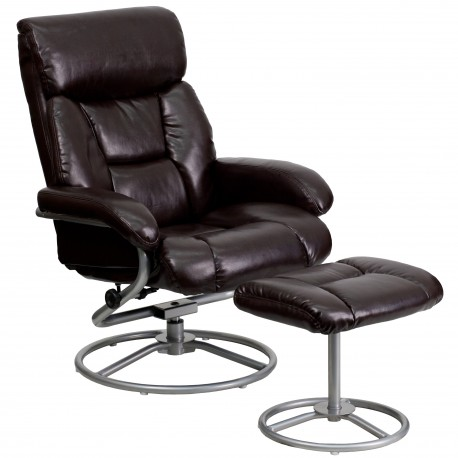 Contemporary Brown Leather Recliner and Ottoman with Metal Base