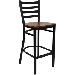 Black Ladder Back Metal Restaurant Bar Stool - Cherry Wood Seat