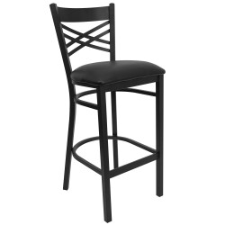 Black ''X'' Back Metal Restaurant Bar Stool - Black Vinyl Seat