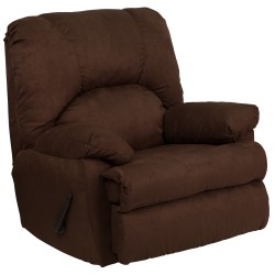 Contemporary Montana Chocolate Microfiber Suede Rocker Recliner