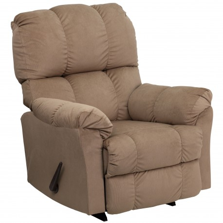 Contemporary Top Hat Coffee Microfiber Rocker Recliner