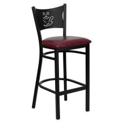Black Coffee Back Metal Restaurant Bar Stool - Burgundy Vinyl Seat