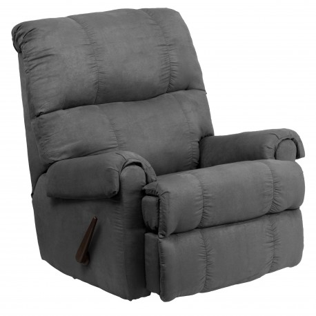 Contemporary Flatsuede Graphite Microfiber Rocker Recliner