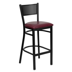 Black Grid Back Metal Restaurant Bar Stool - Burgundy Vinyl Seat
