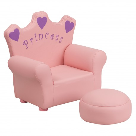 Amazing Kids Pink Princess Chair And Footrest