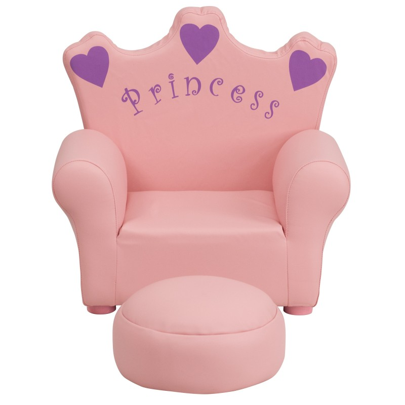 Kids Pink Princess Chair And Footrest