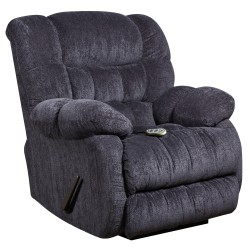 Massaging Columbia Indigo Blue Microfiber Recliner with Heat Control