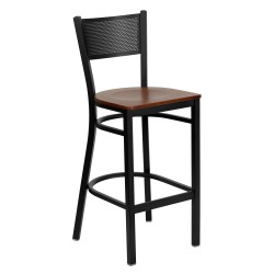 Black Grid Back Metal Restaurant Bar Stool - Cherry Wood Seat