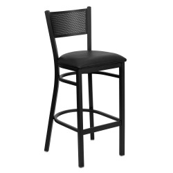 Black Grid Back Metal Restaurant Bar Stool - Black Vinyl Seat
