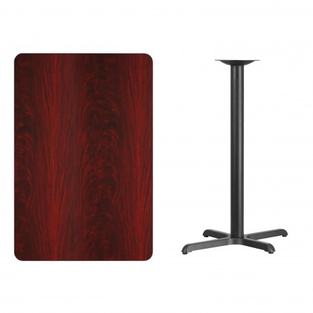 30'' x 45'' Rectangular Mahogany Laminate Table Top with 22'' x 30'' Bar Height Table Base