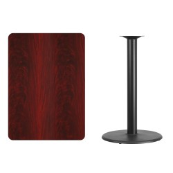 30'' x 42'' Rectangular Mahogany Laminate Table Top with 24'' Round Bar Height Table Base