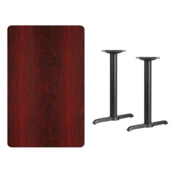 30'' x 48'' Rectangular Mahogany Laminate Table Top with 5'' x 22'' Table Height Bases