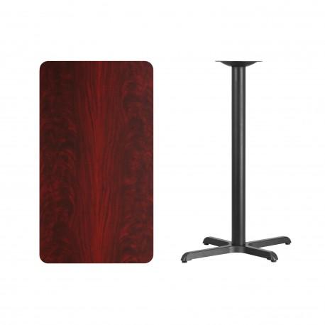 24'' x 42'' Rectangular Mahogany Laminate Table Top with 22'' x 30'' Bar Height Table Base