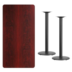 30'' x 60'' Rectangular Mahogany Laminate Table Top with 18'' Round Bar Height Table Bases