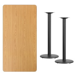 30'' x 60'' Rectangular Natural Laminate Table Top with 18'' Round Bar Height Table Bases