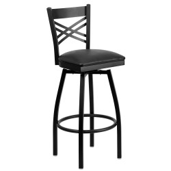 Black ''X'' Back Swivel Metal Bar Stool - Black Vinyl Seat