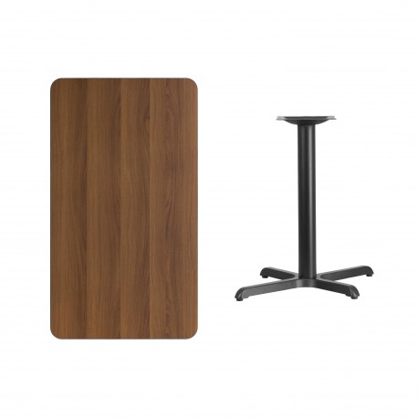 24'' x 42'' Rectangular Walnut Laminate Table Top with 22'' x 30'' Table Height Base