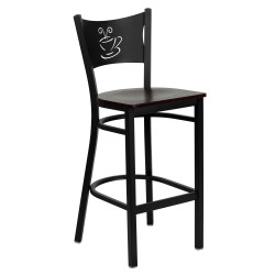 Black Coffee Back Metal Restaurant Bar Stool - Mahogany Wood Seat