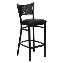 Black Coffee Back Metal Restaurant Bar Stool - Black Vinyl Seat
