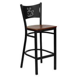 Black Coffee Back Metal Restaurant Bar Stool - Cherry Wood Seat