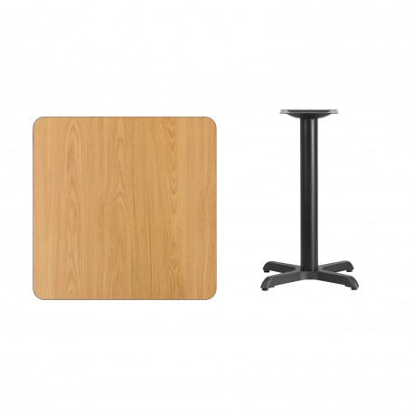 30'' Square Natural Laminate Table Top with 22'' x 22'' Table Height Base