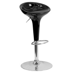 Contemporary Black Plastic Adjustable Height Bar Stool with Chrome Base