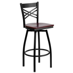 Black ''X'' Back Swivel Metal Bar Stool - Mahogany Wood Seat