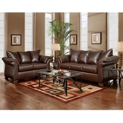 Living Room Set in Taos Mahogany Leather