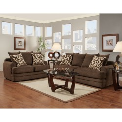 Living Room Set in Caliber Walnut Chenille