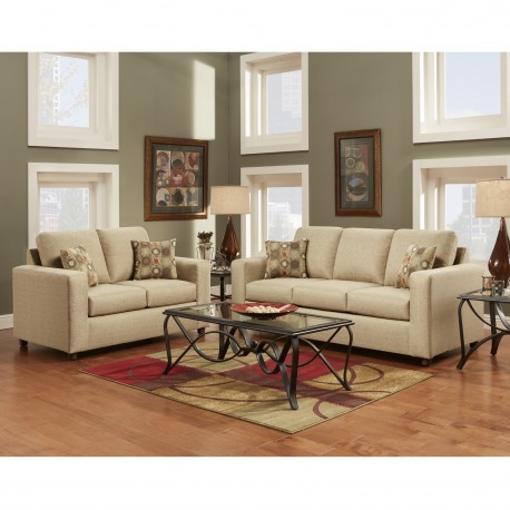 Living Room Set in Vivid Beige Fabric