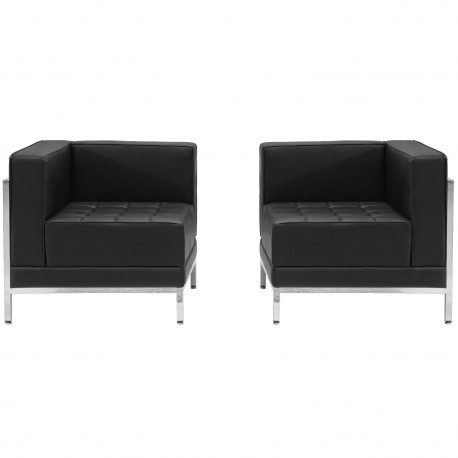Immaculate Collection Black Leather 2 Piece Corner Chair Set