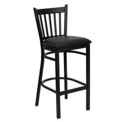 Black Vertical Back Metal Restaurant Bar Stool - Black Vinyl Seat