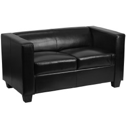 Comfort Collection Black Leather Loveseat